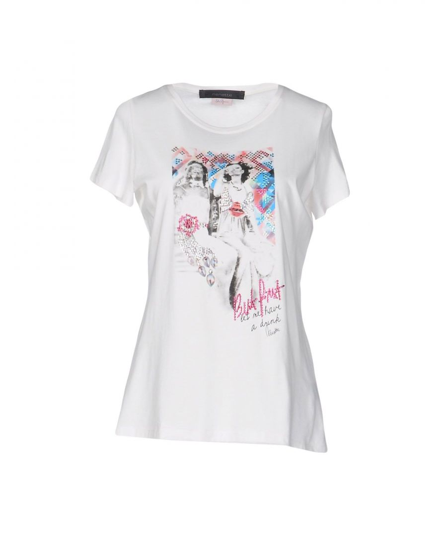 Image for Nenette Ivory Cotton Print T-Shirt