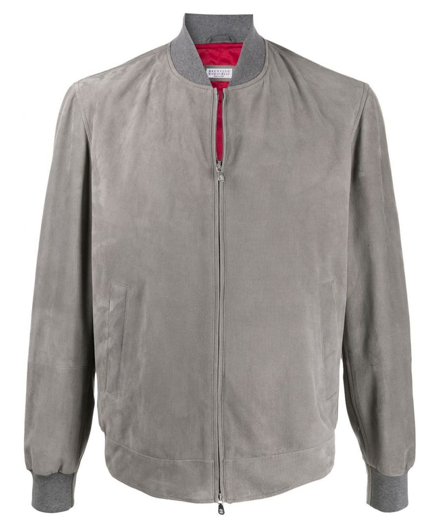 Image for BRUNELLO CUCINELLI MEN'S MPCPY1621CI581 GREY SUEDE OUTERWEAR JACKET