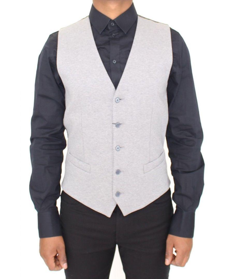 Image for Dolce & Gabbana Gray Cotton Stretch Dress Vest Blazer