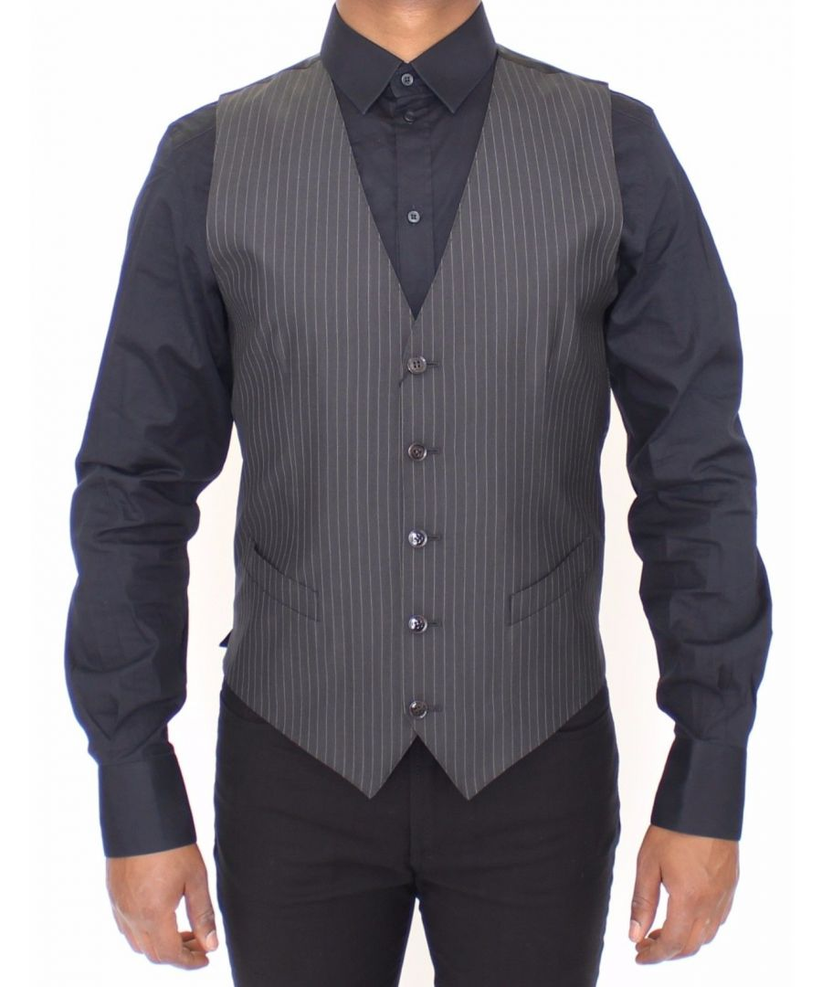 Image for Dolce & Gabbana Gray Striped Wool Silk Dress Vest Gilet