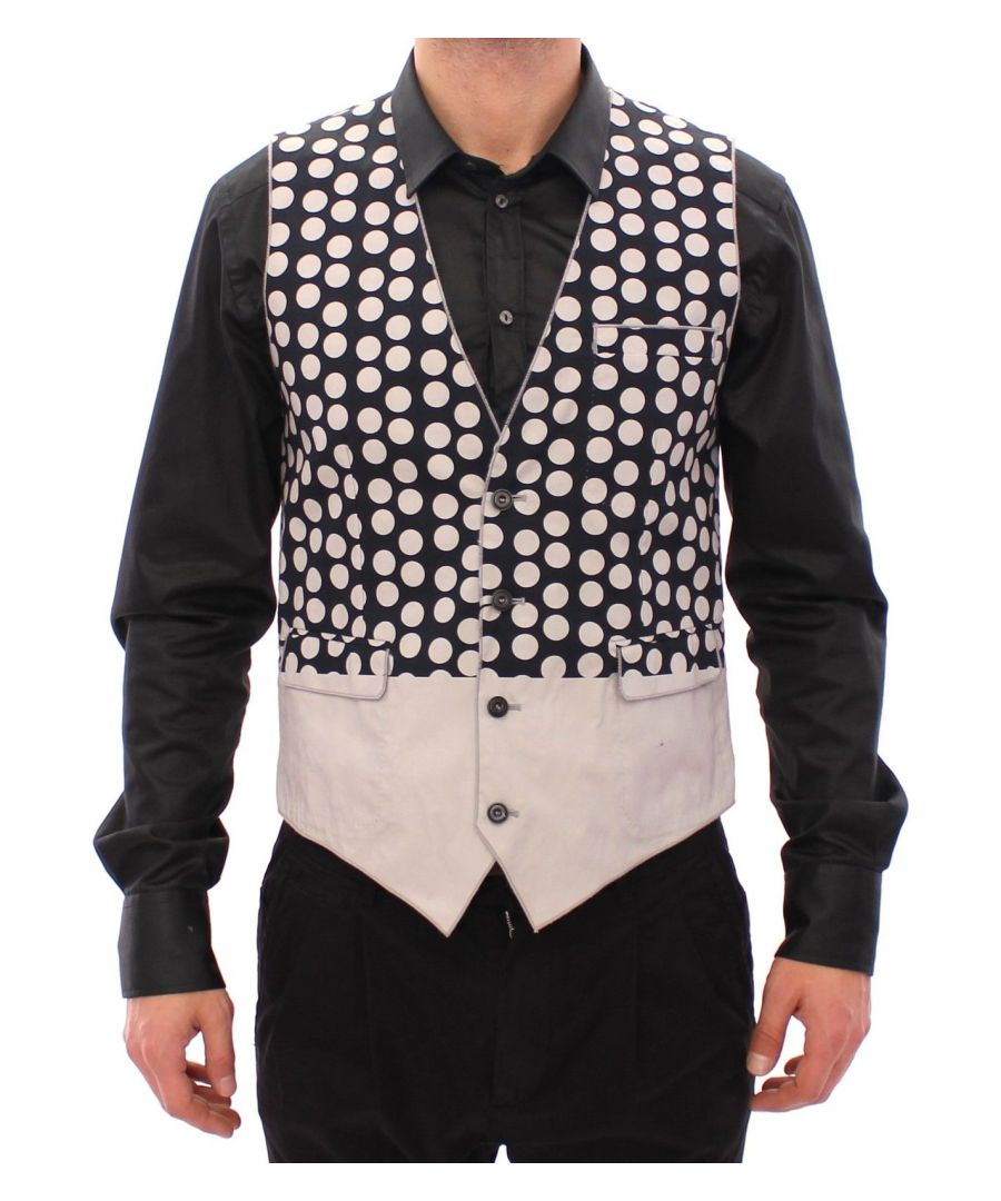 Image for Dolce & Gabbana Blue Polka Dot Dress Vest Gilet Weste