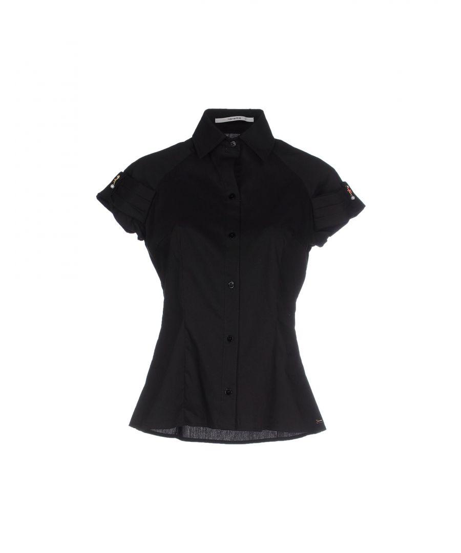 Image for Nenette Black Cotton Short Sleeve Shirt