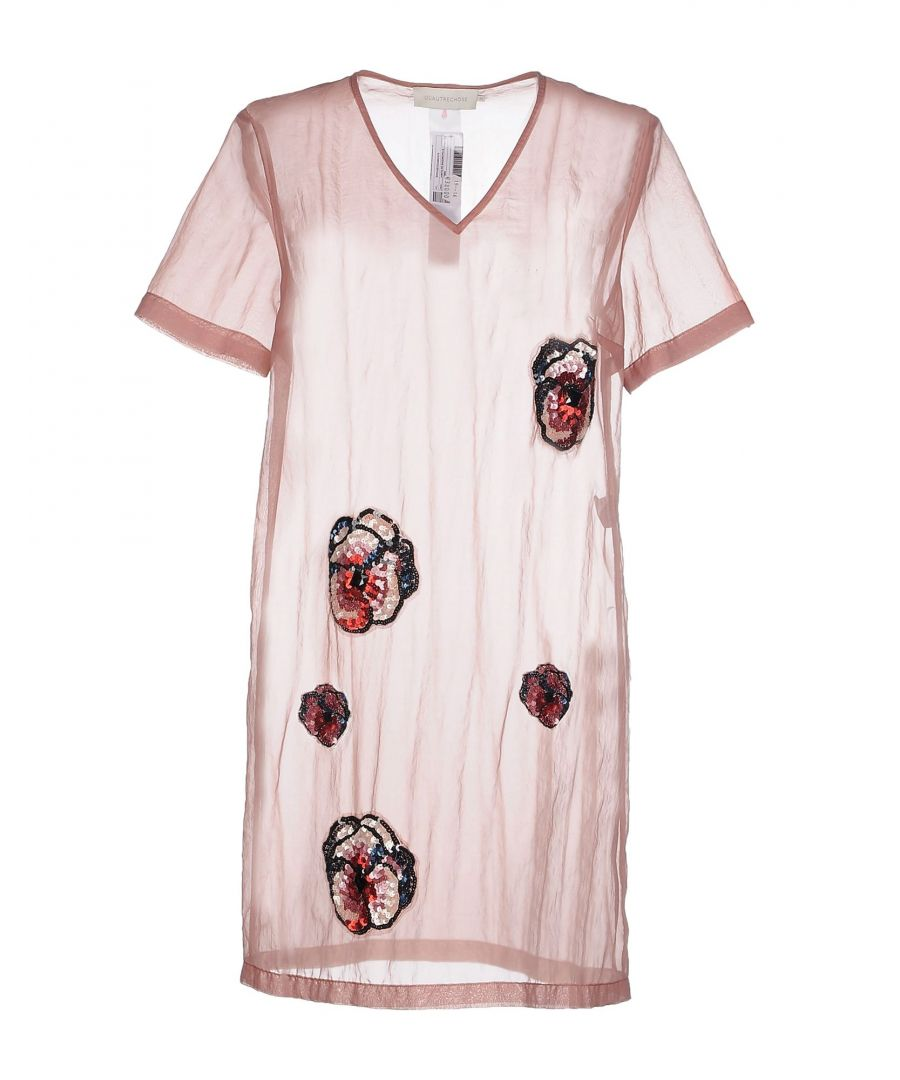 Image for L' Autre Chose Pale Pink Organza And Sequin Short Sleeve Dress