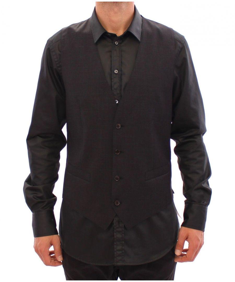 Image for Dolce & Gabbana Gray Slim Fit Button Front Dress Formal Vest