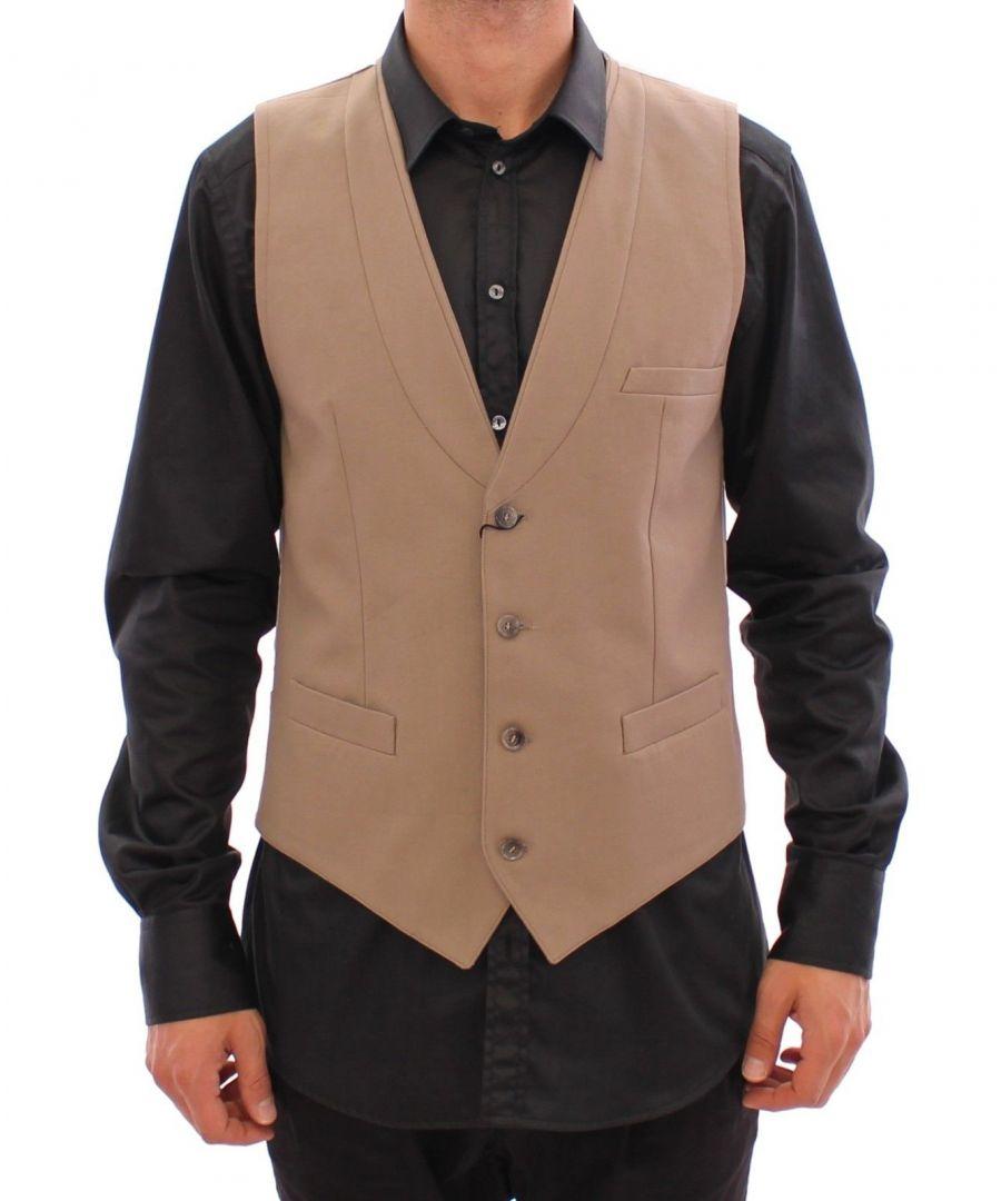 Image for Dolce & Gabbana Beige Cotton Slim Fit Button Front Dress Vest