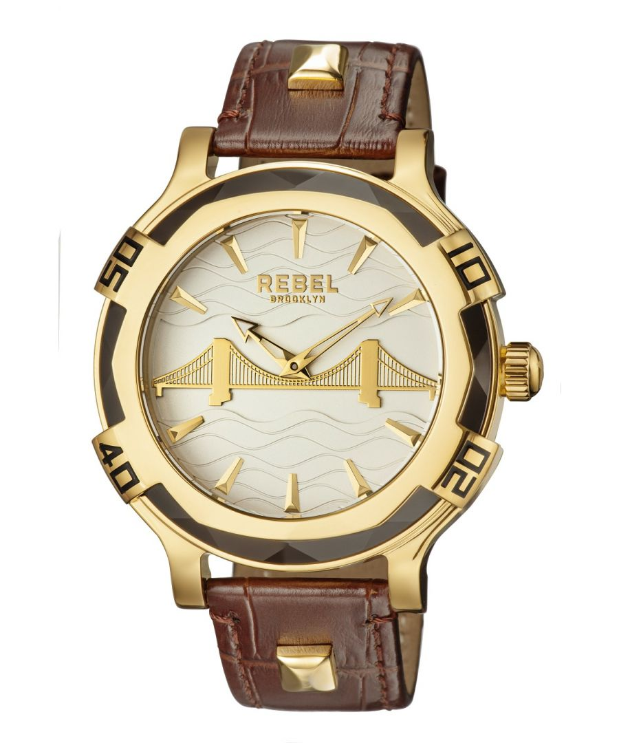 Image for Rebel Mens Brooklyn Bridge Silver Dial Leather Watch