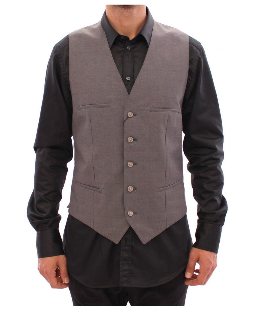 Image for Dolce & Gabbana Gray Cotton Slim Fit Button Front Dress Vest