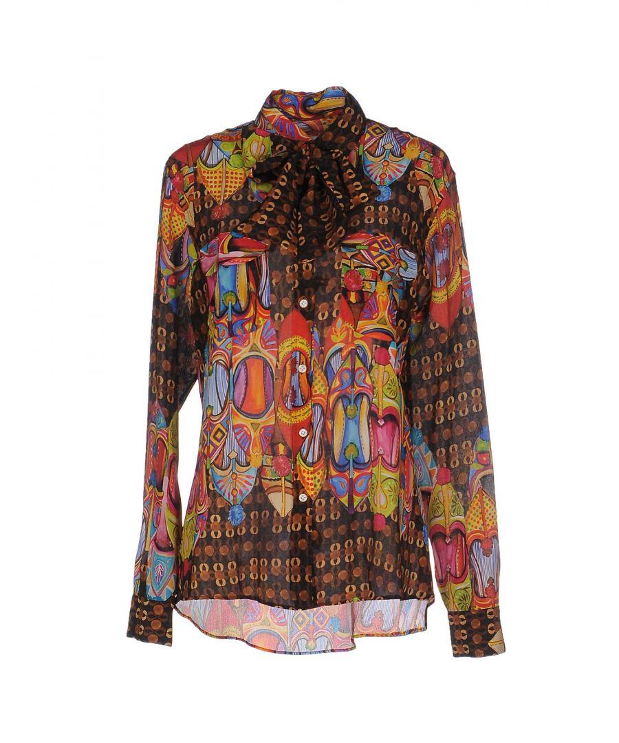 Image for Stella Jean Dark Brown Pattern Silk Shirt