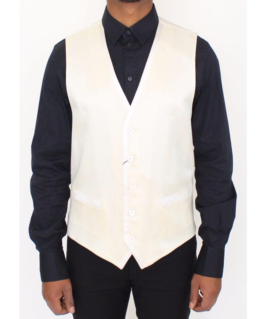 Image for Dolce & Gabbana White Wool Blend Dress Vest Blazer Jacket