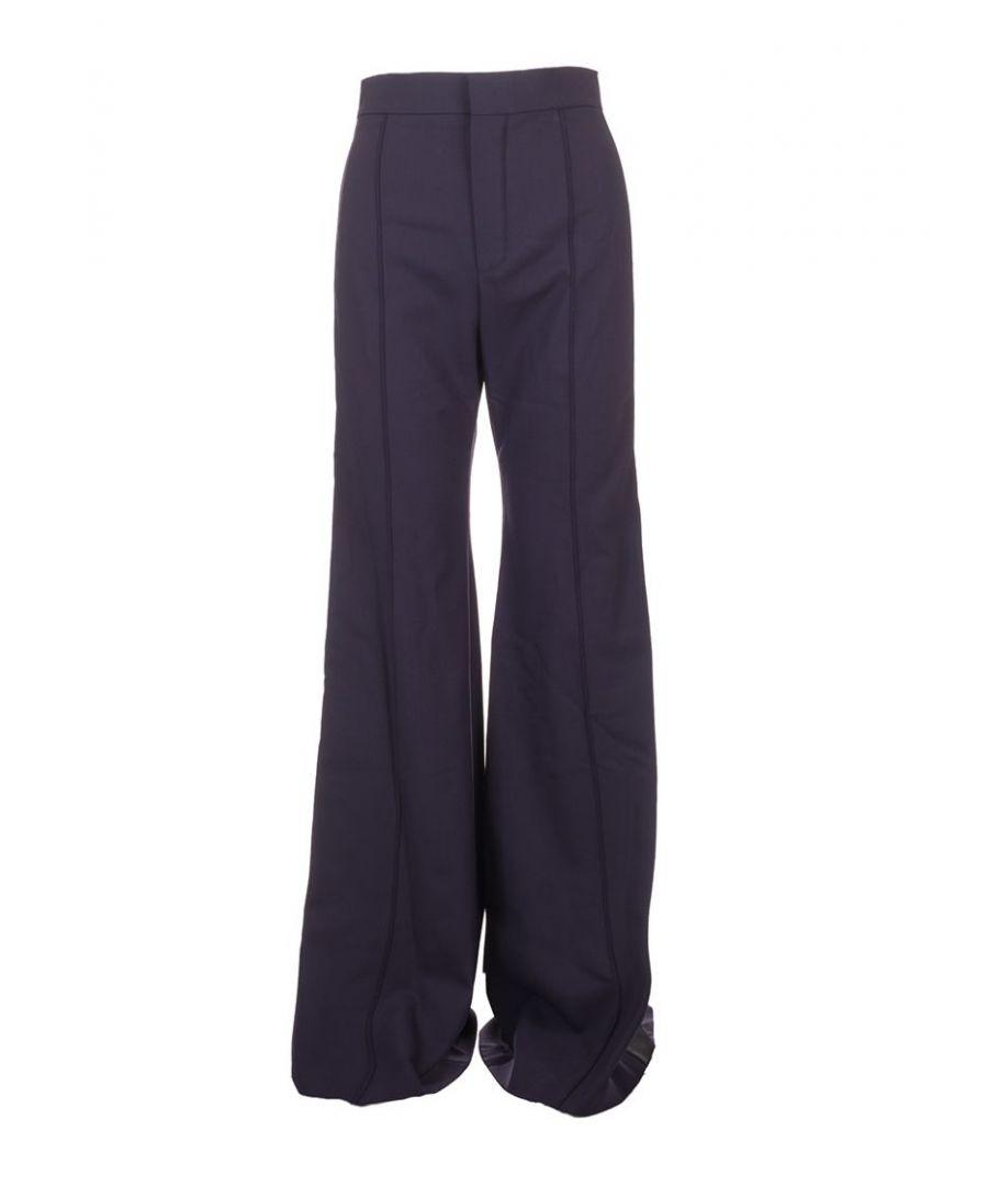 Image for CHLOÉ WOMEN'S CHC19APA260624B0 BLUE WOOL PANTS