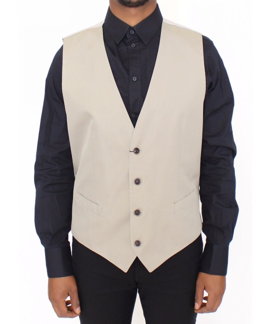 Image for Dolce & Gabbana Beige Cotton Silk Blend Dress Vest Blazer