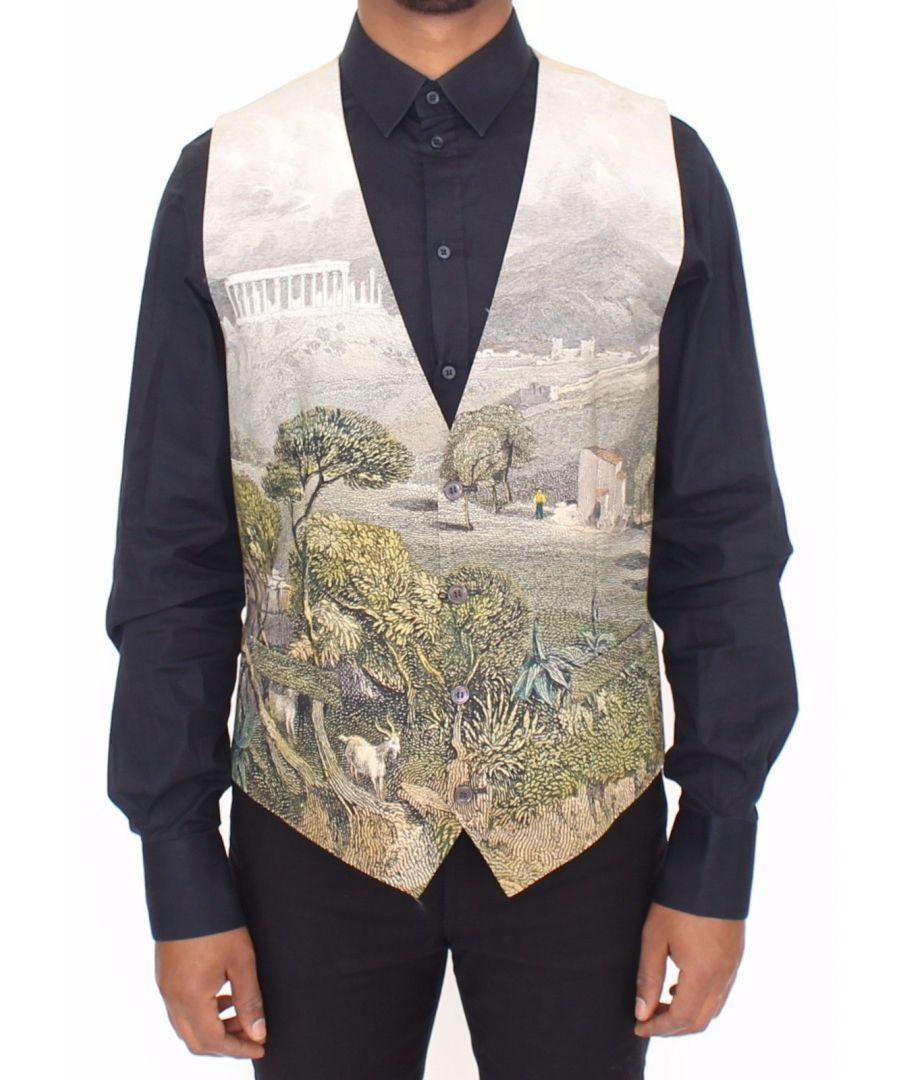 Image for Dolce & Gabbana Taormina Print Cotton Dress Vest Blazer