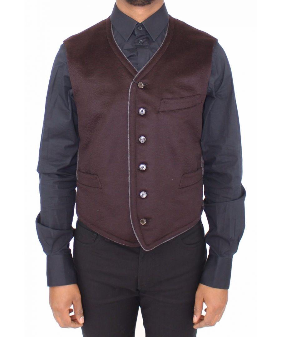 Image for Dolce & Gabbana Brown Cashmere Dress Vest Blazer Jacket