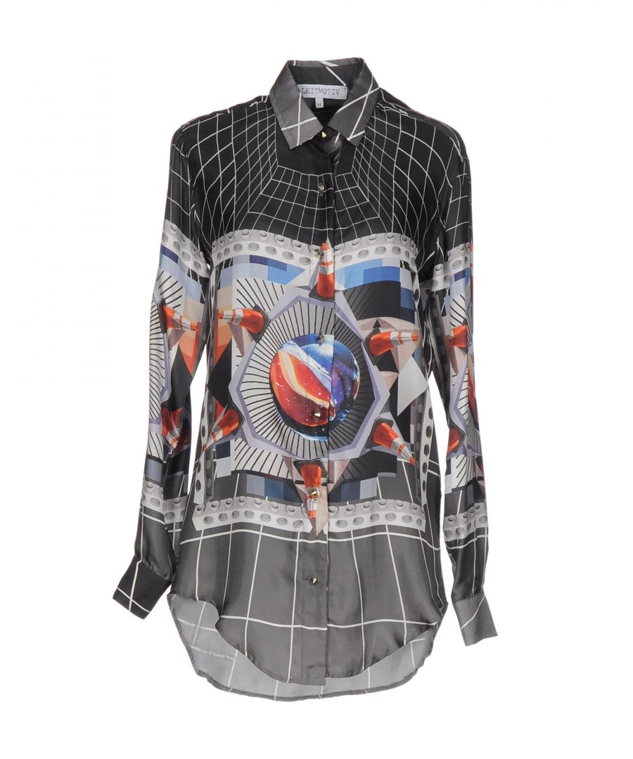Image for Leitmotiv Steel Grey Print Silk Shirt