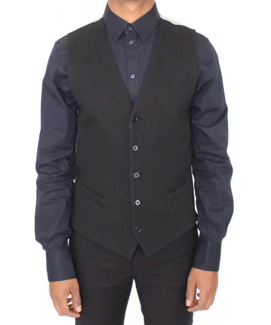 Image for Dolce & Gabbana Black Cotton Dress Vest Blazer Jacket