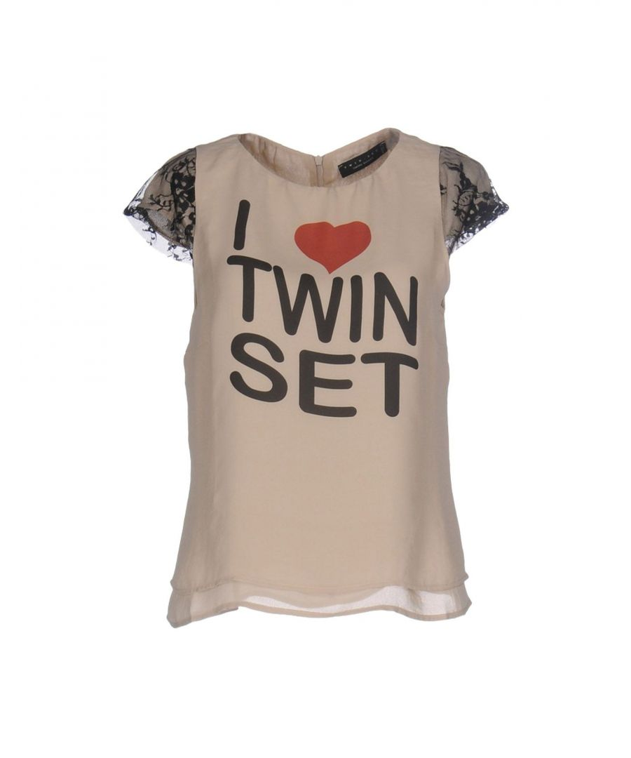Image for Twinset Sand Crepe And Lace Logo Blouse
