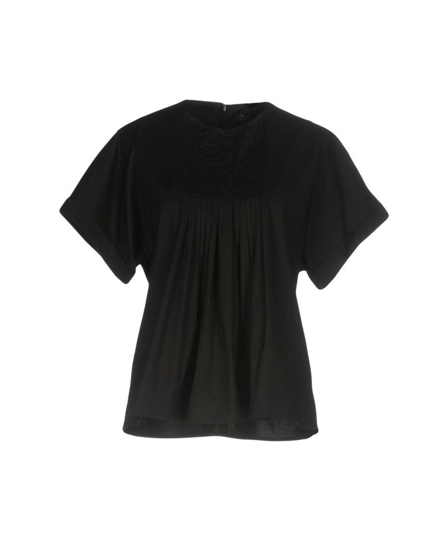 Image for Federica Tosi Black Cotton Pleated Short Sleeve Blouse