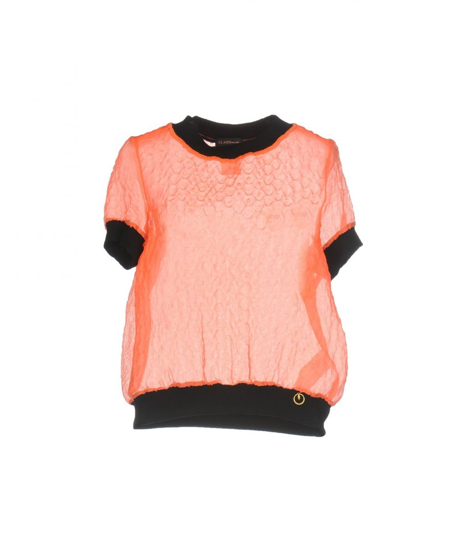 Image for Cavalli Class Orange Knit And Organza Short Sleeve Blouse