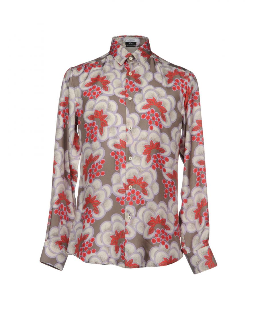 Image for Versace Collection Grey Floral Print Silk Shirt