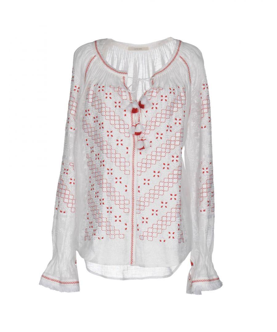 Image for Vita Kin White Linen Embroidered Blouse
