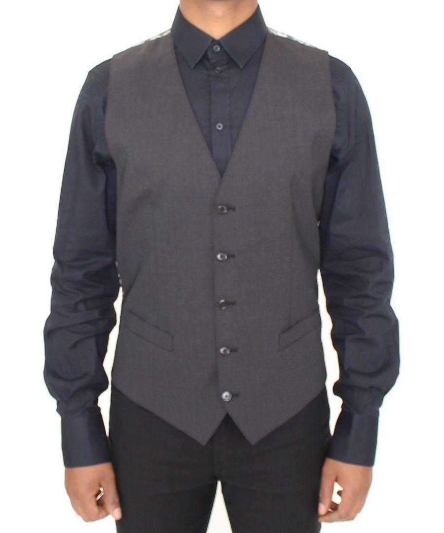 Image for Dolce & Gabbana Gray Wool Stretch Dress Vest Blazer