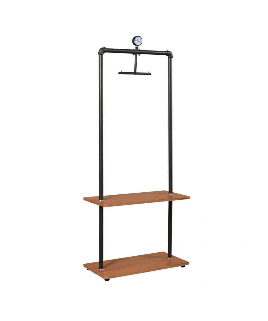 Image for Furinno Wyatt Industrial Style Garment Rack with Wood Shelves, Antique Espresso