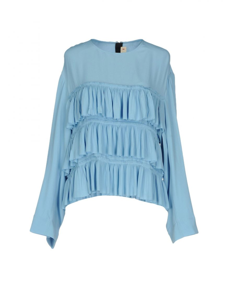 Image for Marni Sky Blue Crepe Ruffle Blouse