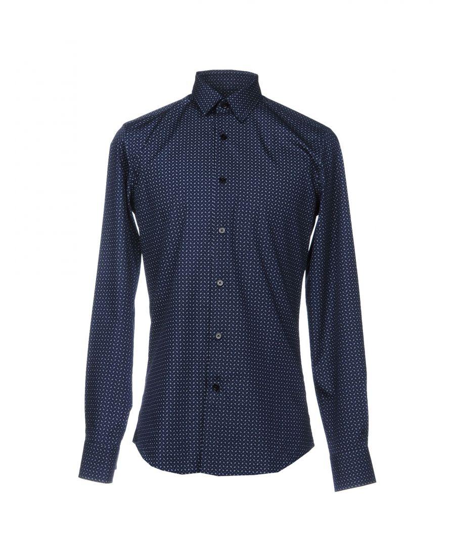 Image for Roberto Cavalli Dark Blue Print Cotton Shirt