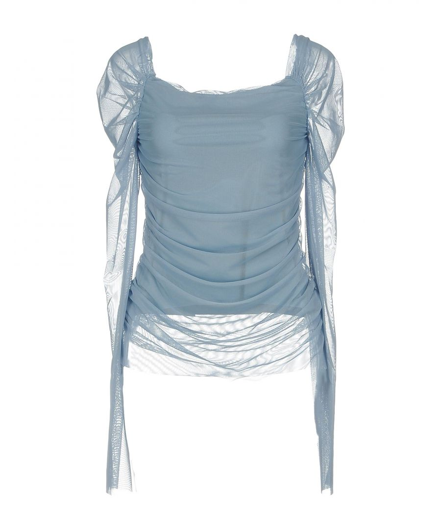 Image for Denny Rose Sky Blue Tulle Draped Long Sleeve Top