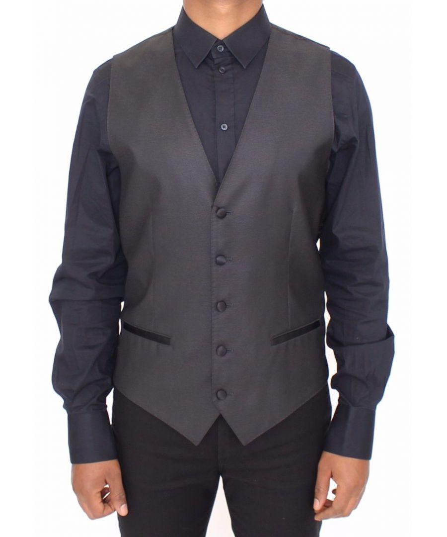 Image for Dolce & Gabbana Black Silk Wool Dress Vest Blazer Jacket