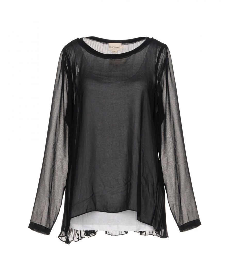 Image for DKNY Black Chiffon Long Sleeve Blouse