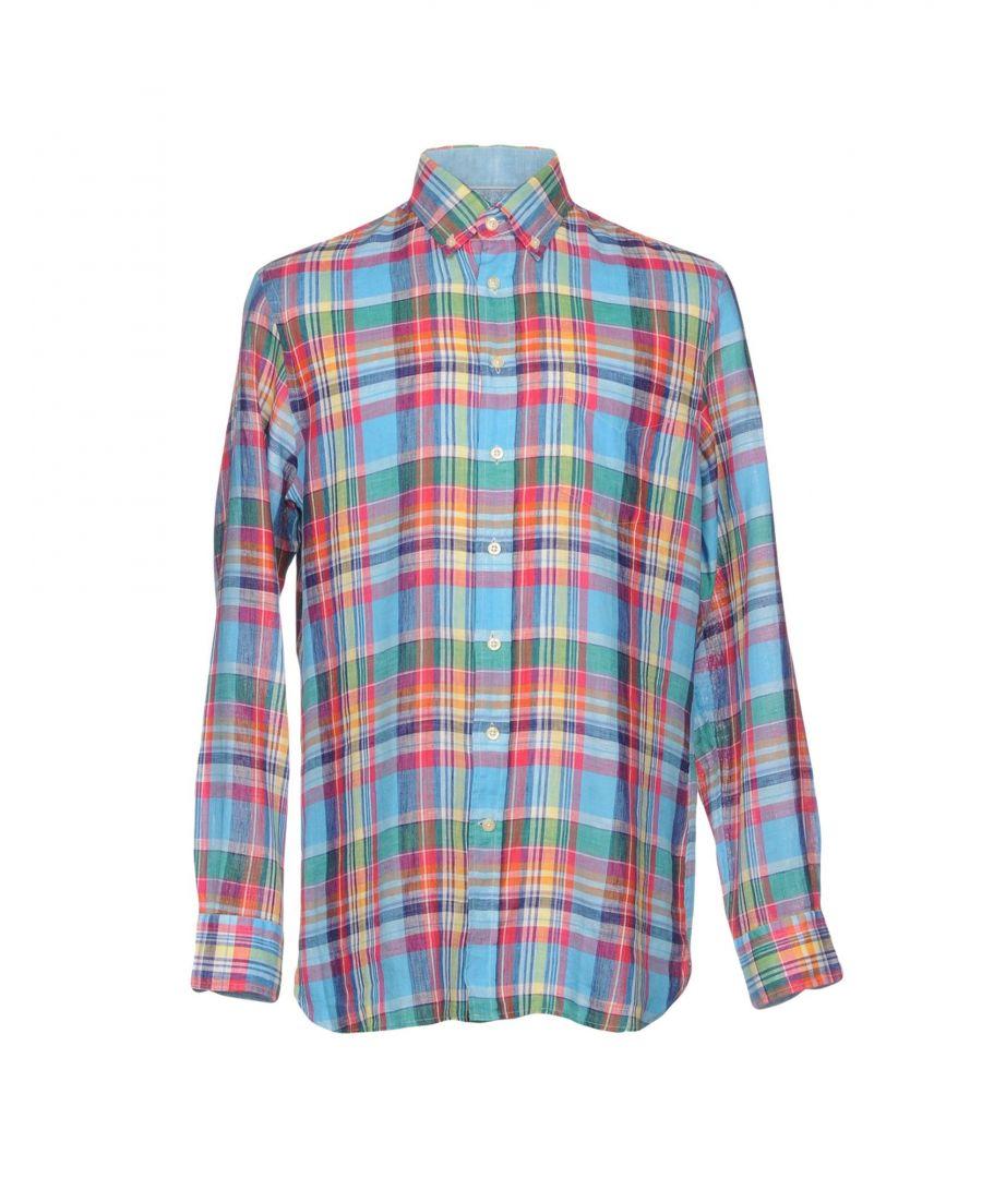 Image for Hackett London Azure Plaid Linen Shirt