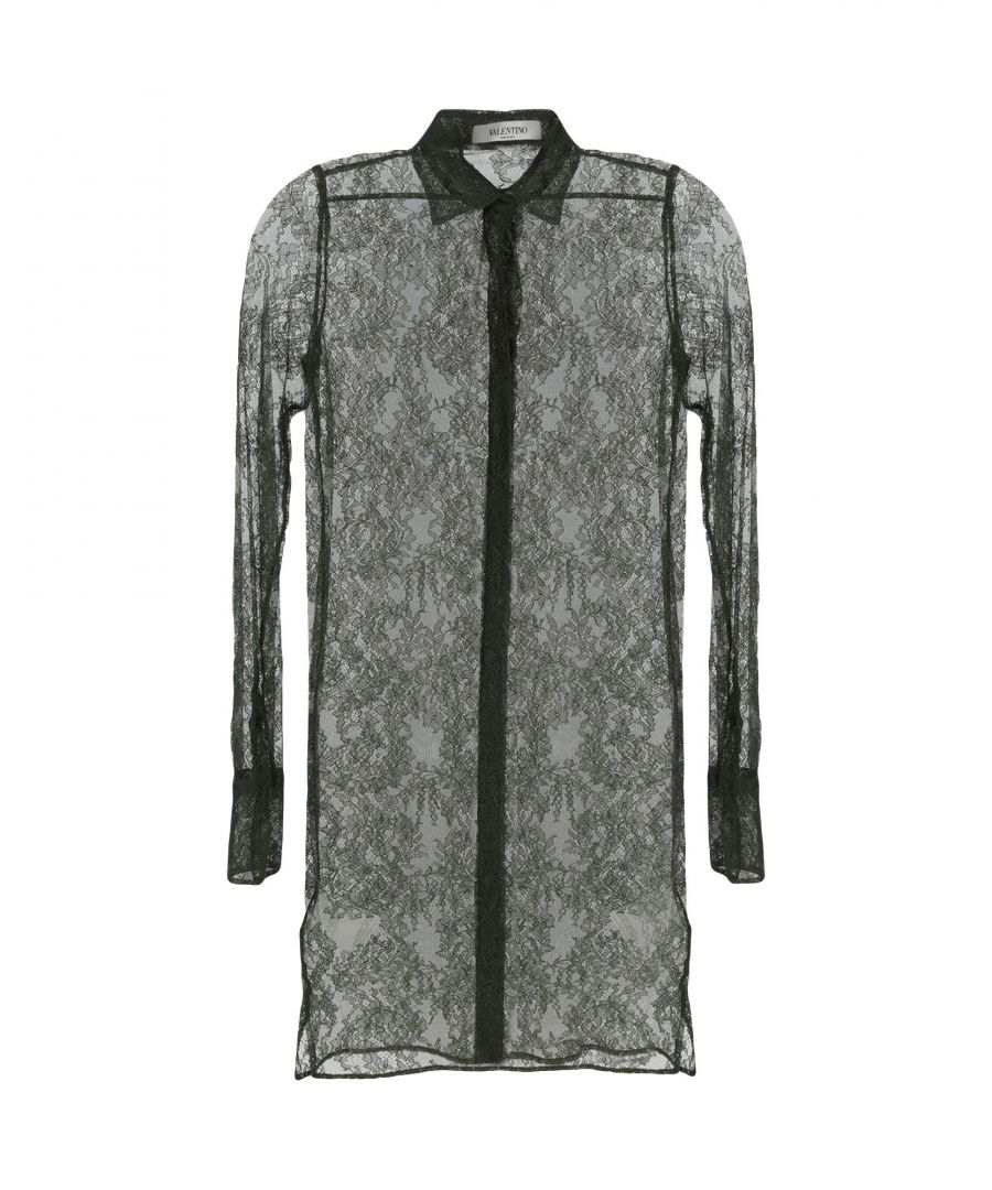 Image for Valentino Military Green Silk And Lace Shirt