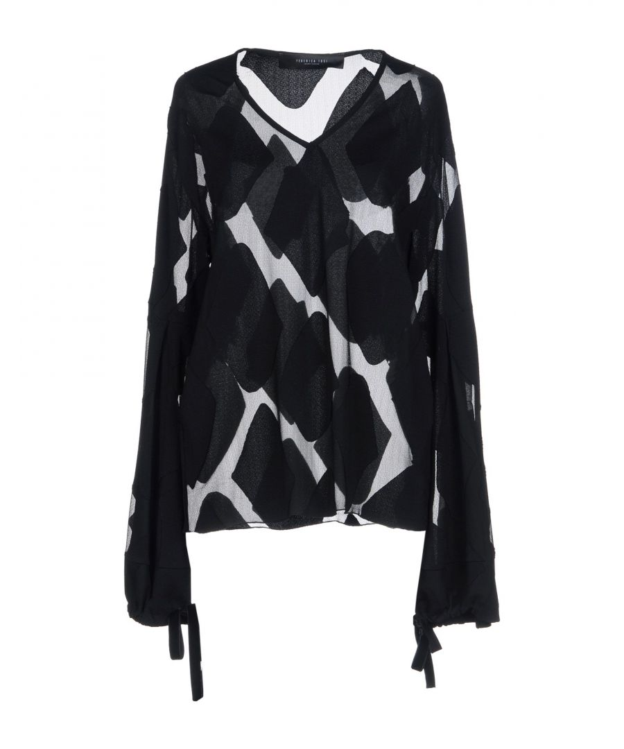 Image for Federica Tosi Black Crepe Long Sleeve Blouse