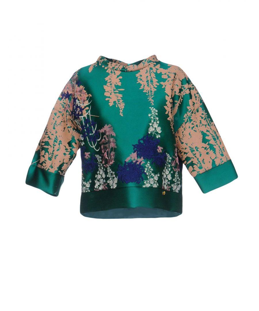 Image for Blumarine Green Floral Print Satin Blouse