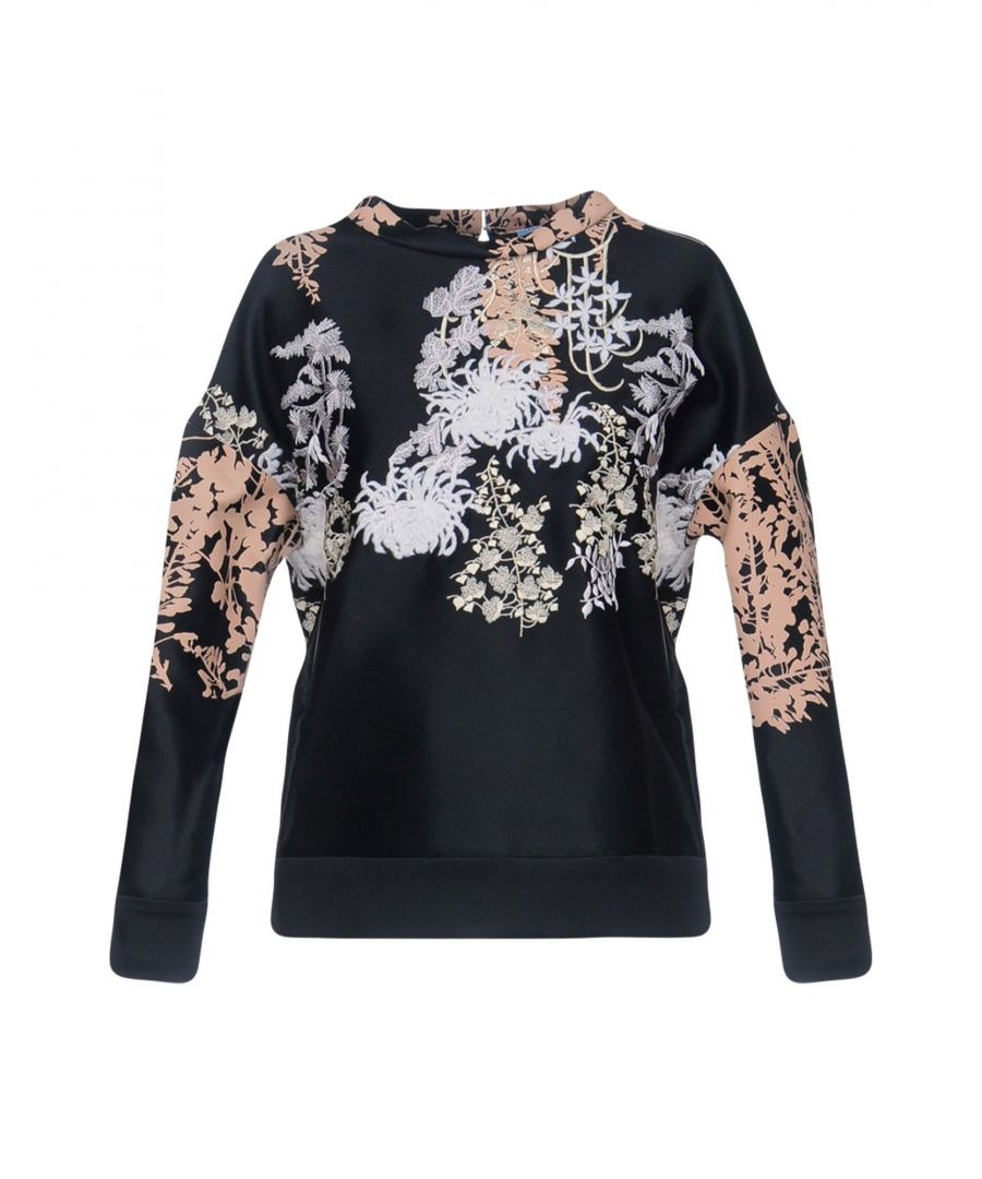 Image for Blumarine Black Floral Satin And Embroidered Blouse