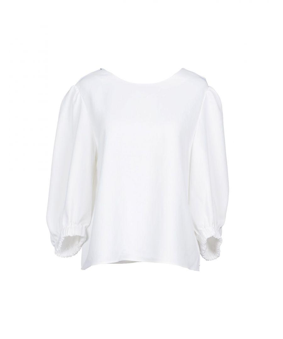 Image for Tibi White Three Quarter Length Sleeve Blouse