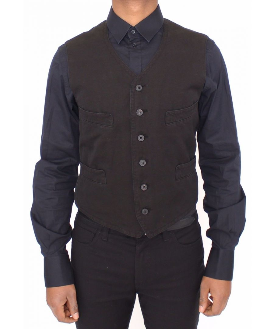 Image for Dolce & Gabbana Black Flax Cotton Dress Vest Blazer
