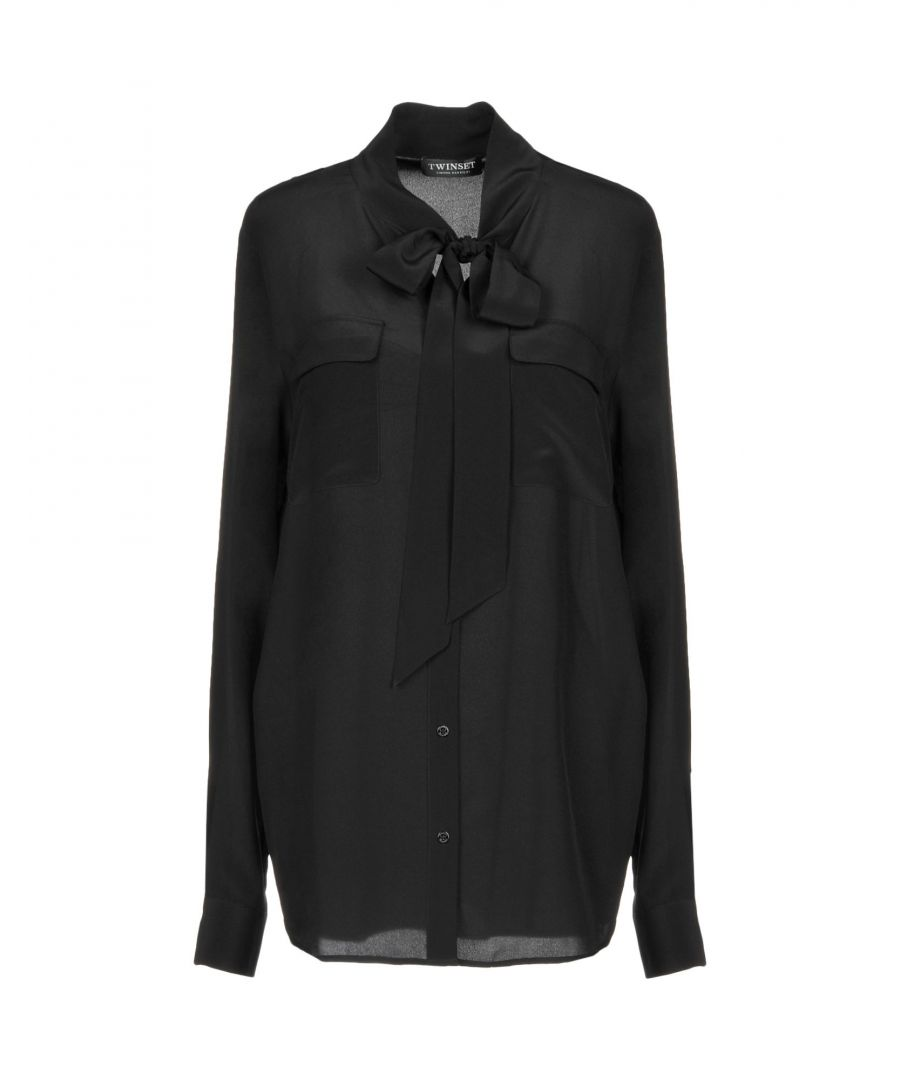 Image for Twinset Black Silk Bow Collar Blouse