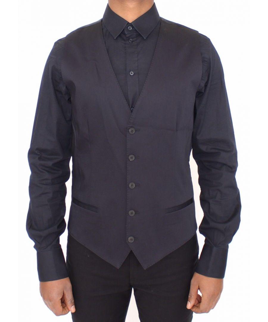 Image for Dolce & Gabbana Blue Cotton Stretch Dress Vest Blazer