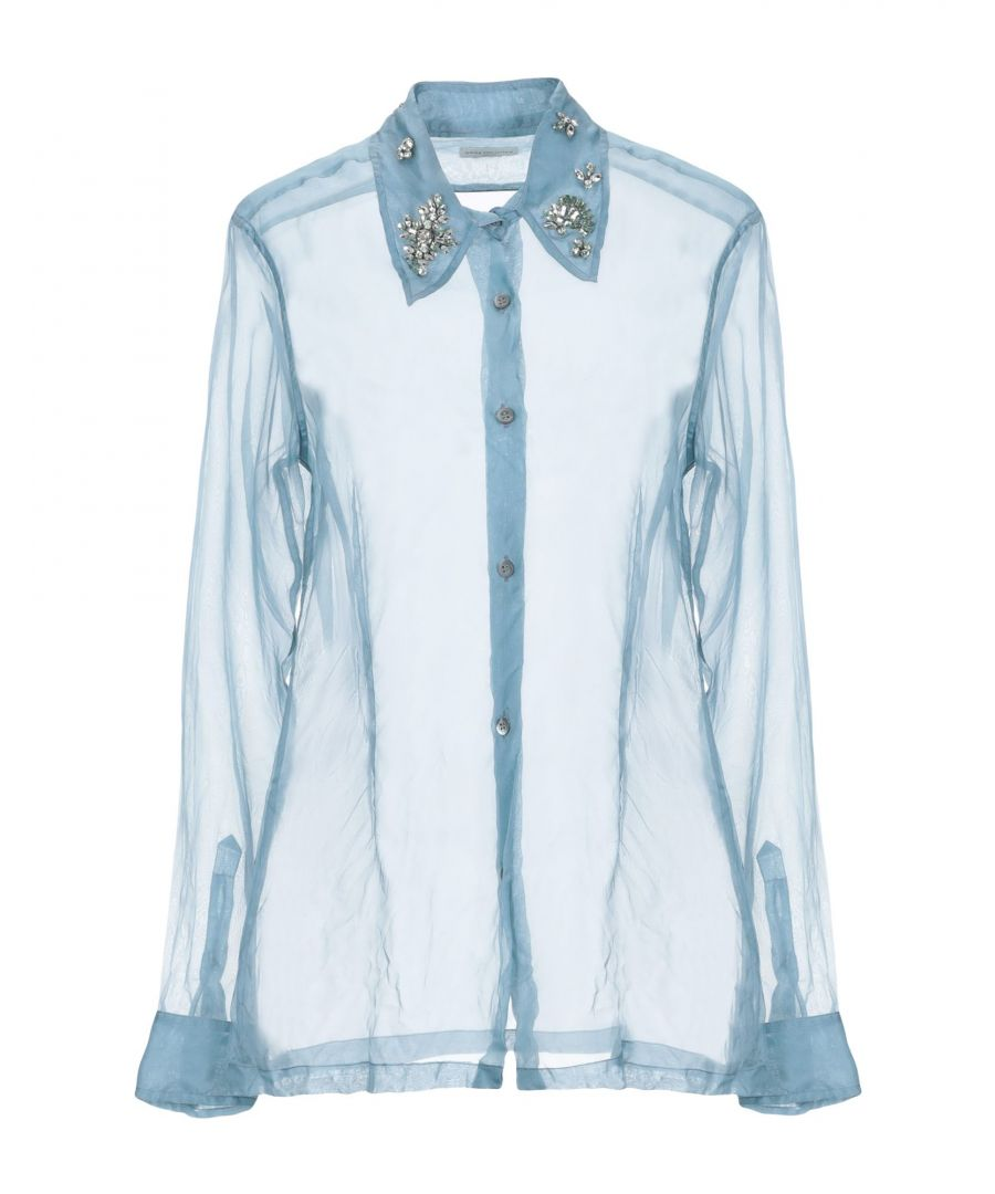 Image for Dries Van Noten Slate Blue Silk Embellished Collar Shirt
