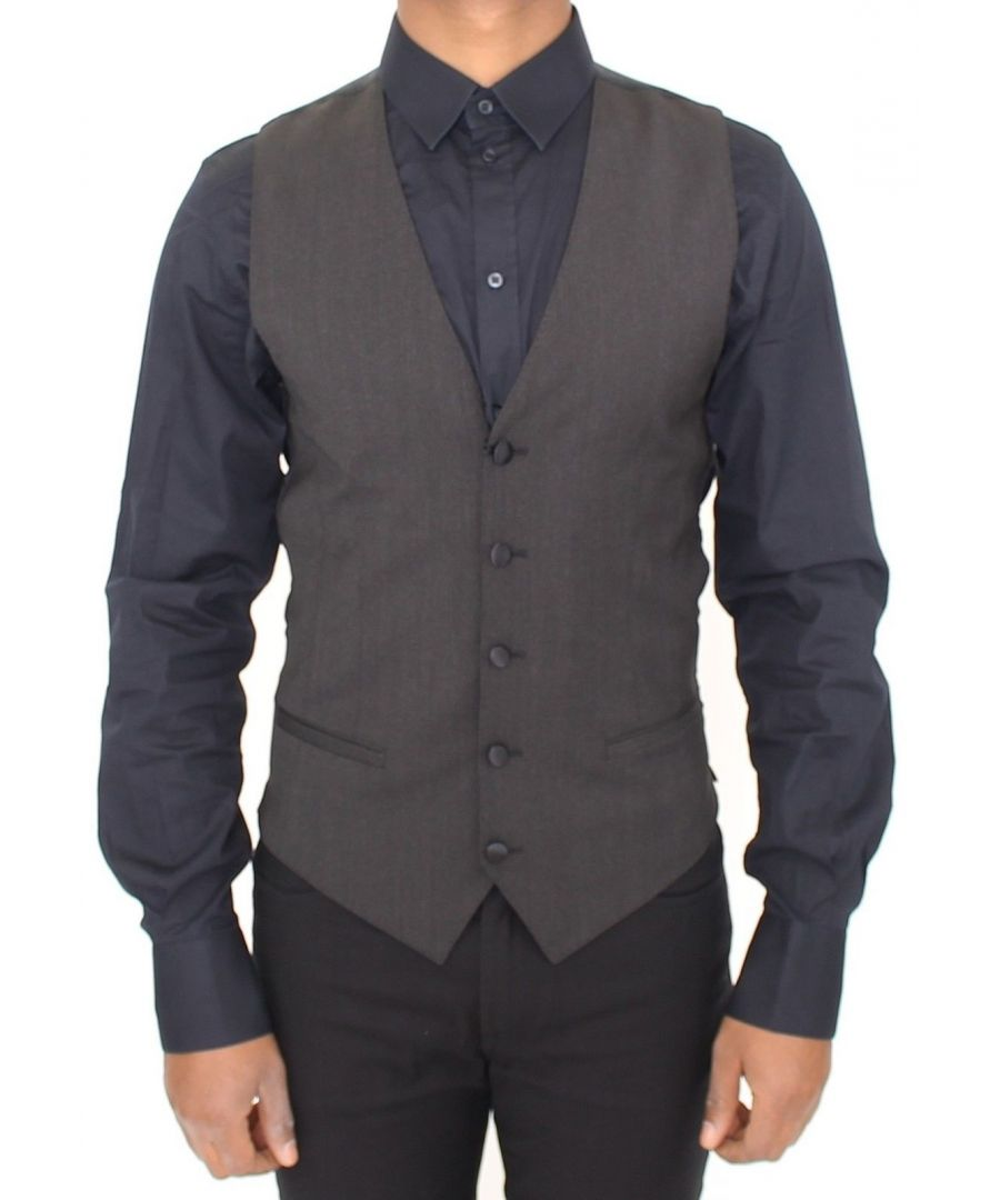 Image for Dolce & Gabbana Gray Wool Stretch Dress Vest Blazer