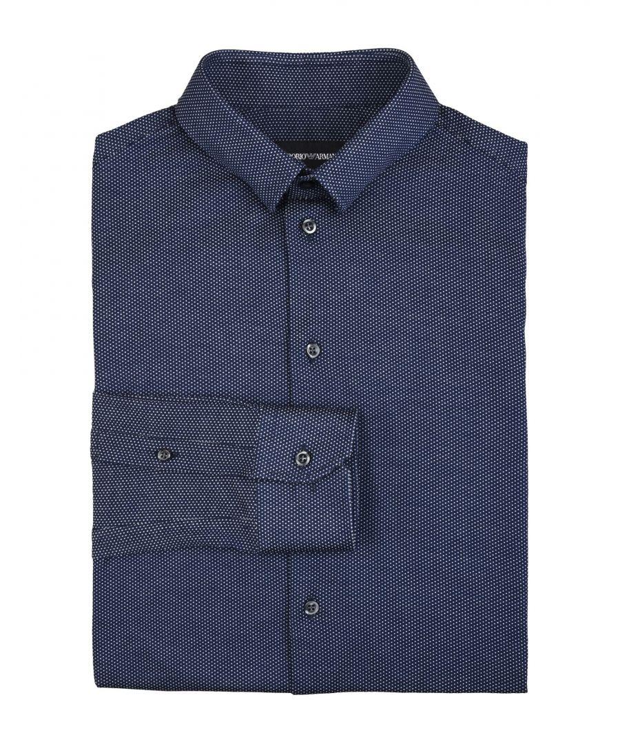 Image for Emporio Armani Dark Blue Cotton Shirt