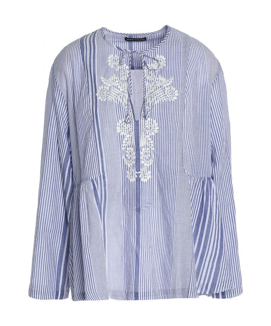 Image for Antik Batik Blue Cotton Embroidered Blouse