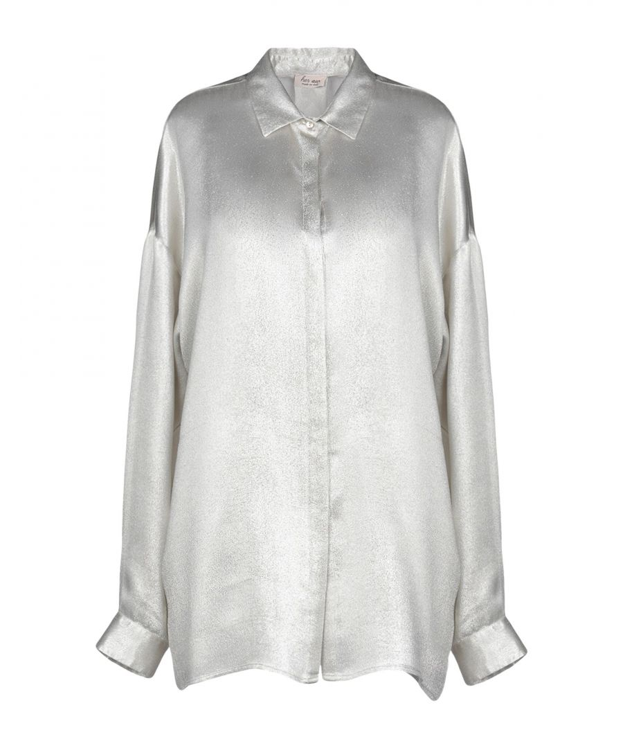 Image for Her Shirt Light Grey Silk Blouse