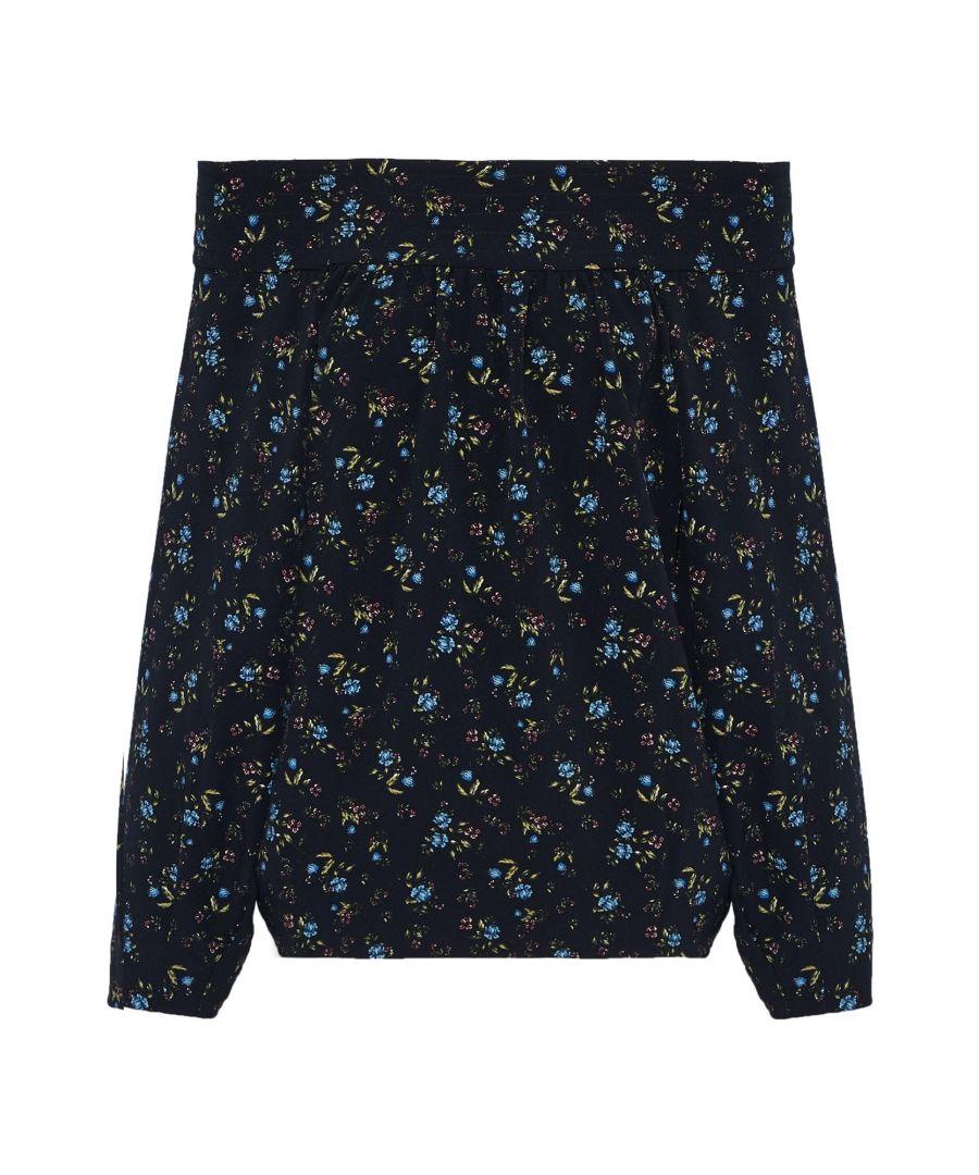 Image for Marissa Webb Dark Blue Floral Design Blouse