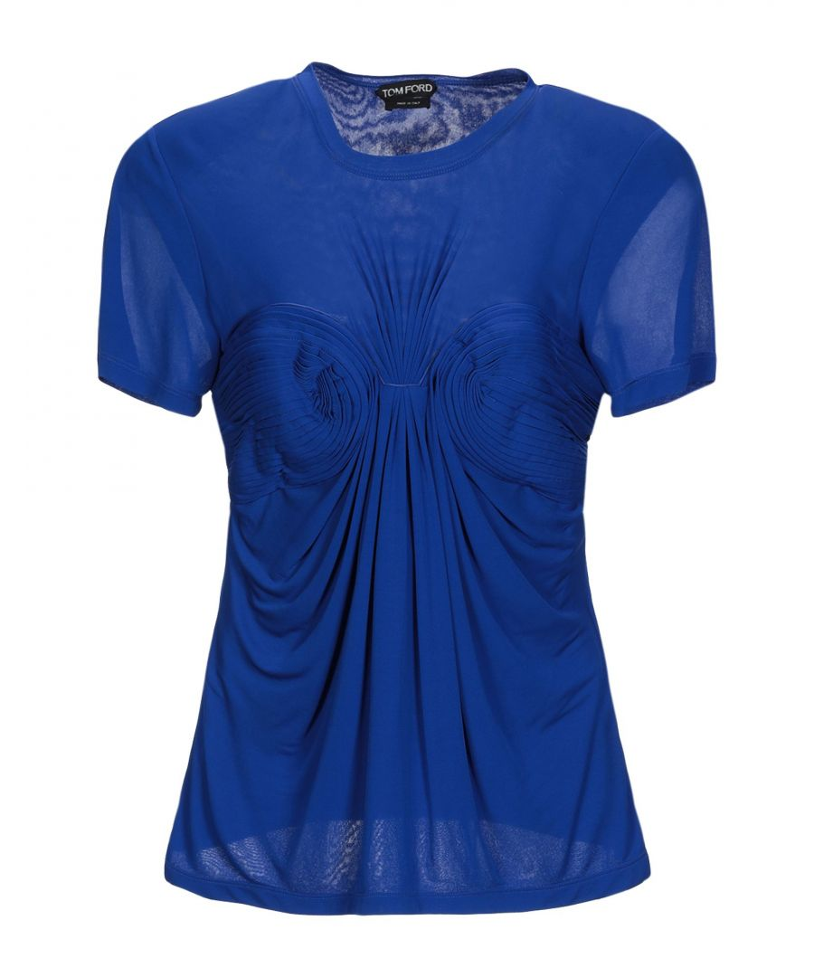 Image for Tom Ford Blue Jersey Pleated Detailing Blouse