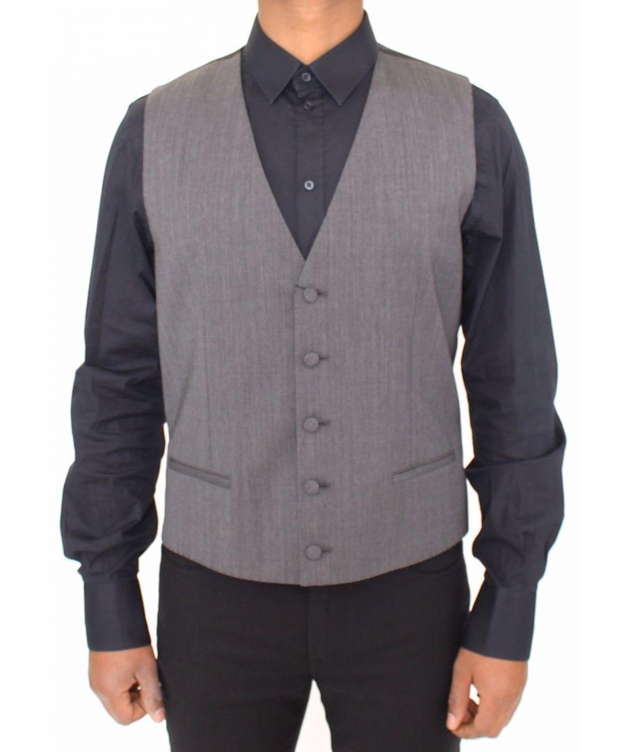 Image for Dolce & Gabbana Gray Wool Stretch Dress Vest Jacket Blazer
