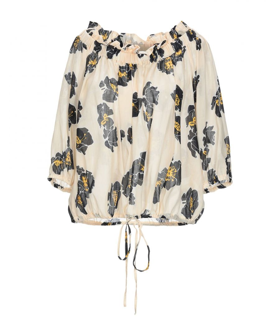 Image for Attic And Barn Light Yellow Floral Print Blouse