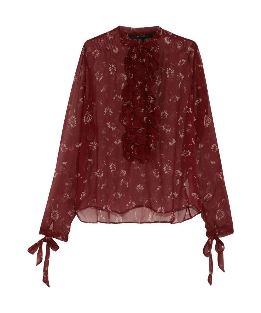Image for Etro Maroon Print Silk Shirt